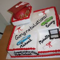 Graduation For Three Three grads, 1 cake. Saw this design on several CC'ers pages, it was a perfect design for this cake. I incorporated sports cars and a...