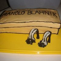 Manolo Blahnik Birthday Cake  A triple layer chocolate cake with strawberry buttercream...like a strawberry dipped in chocolate. She always wanted a pair of Manolos. Now...