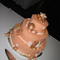 Seashell Cake Hand painted gumpaste seashells accented with edible sand