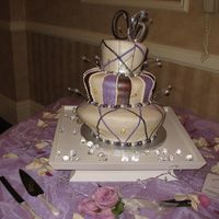Purple And Brown Topsy Turvy Cake