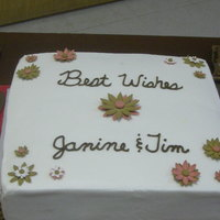 Wedding Shower WASC w/ BC icing. gum paste daisy in bown and red