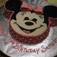 "Minnie Mouse My first Minnie Mouse!! French vanilla 10"" and 2 6"" cakes with Chocolate buttercream filling, Disney Font, 22' round cake..."