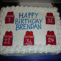 Detroit Pistons Cake For his 8th birthday, my son requested a chocolate cake with white frosting, decorated with Pistons' jerseys. I made a template for...