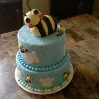 Bumble Bee Baby Shower Cake all edible chocolate and vanilla cake the bee is made out of rice krispies.
