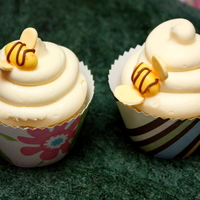 Bees Vanilla cupcake with Sugarshack's buttercream, jellybean bees and fondant wings.