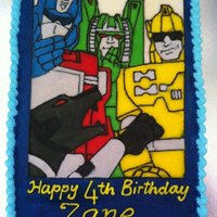 Transformers Cake Hand piped with flood fill transformers pic