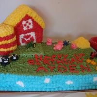 Ayden's Farm This was a chocolate cake and the barn and silo is a yellow cake. All of the farm animals are made from fondant. I couldn't figure out...