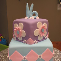 Sweet 16 Chocolate cake, chocolate buttercream, satin ice fondant....for a girl who loves flowers and the three colors we used were her fave