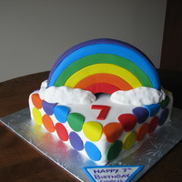Rainbow Birthday!   Rainbow cake inside and out, with vanilla bc icing!