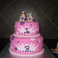Little Princesses   A combined birthday for two little princesses, vanilla cake with chocolate bc