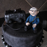 Retirement Cake   This was for a friend who is an electrician at a coal mine, Oh Henry cake with PB buttercream and satin ice fondant