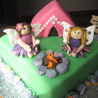 Camping Fairies  This cake was for a little girl having a camp out birthday, but loooves fairies....thanks to bmote1 for making such cute fairies, I had to...
