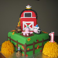 Barnyard Party  My son's first birthday...bc haystacks, Satin Ice everything else....all cake except the round part on top of the barn....and the...
