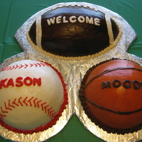 Sports Ball Cake The cakes are covered in buttercream and the letters are cut from MM fondant. It was for a baby shower. The father had definite ideas about...