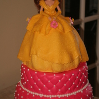 Belle Birthday Cake Belle is made with rice crispy treats covered with MMF. The dress looks better with the texture. I found a small rubber texture mold in the...