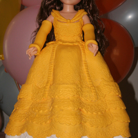 Belle This cake was made with an 18 inch Belle Doll. Her dress is crispy treat, covered with white chocolate and fondant. The cake itself was a &...