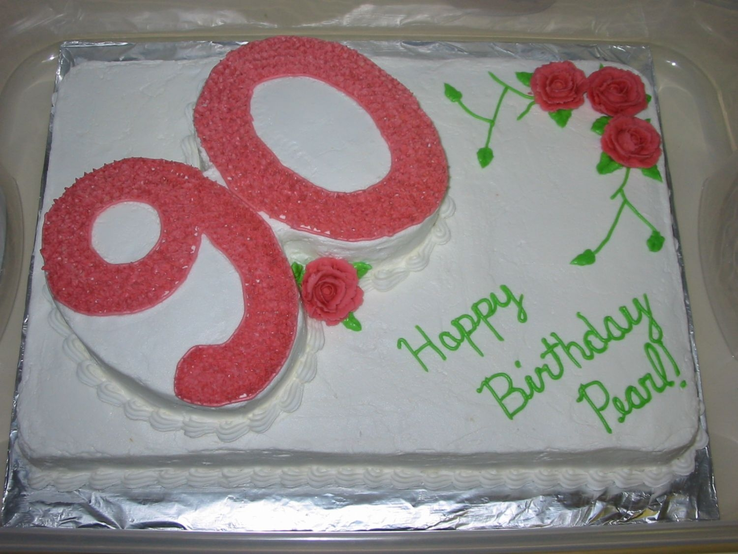 90Th Birthday Party  This is a cake made for my sisters Grandmother-In-Law's 90th birthday. It is my grandmothers pound cake recipe with buttercream icing...