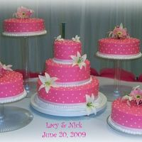 Hot Pink Wedding Cake Covered in buttercream