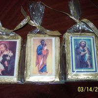 Prayer Card Cookies These cookies were made to resemble prayer cards for the St. Joseph's altar at my church. They were made w/ Edible images and painted...