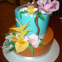 Tropical Flowers MMF cake, all gum paste flowers, lots of fun to create! Thanks for looking!