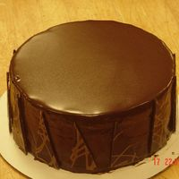 Chocolate Peanut Butter Cake   Chocolate genoise cake w/peanut butter buttercream frosting