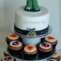 Ben 10 Cupcake Tower All decorations hand made fondant. Created for a 4th birthday party.