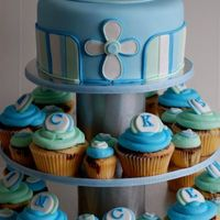 "Blue Christening Cupcake Tower Christening Cupcake Tower created last weekend for a family friend. Tower included 8"" marble mud cake cutting cake. 14 cupcakes that..."