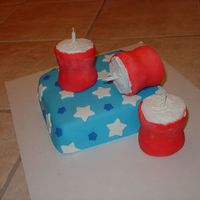 Firecracker Cake White cake filled with vanilla pudding. MMF and buttercream.