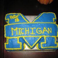 University Of Michigan Birthday Cake   Michigan cake I made for my brother's 18th birthday. Thanks for the inspiration!