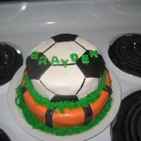 Cake For My Son's 3Rd Birthday.  Bottom is a basketball, top soccer ball. Covered in MMF. Had an awful time with top. The cake stuck to the pan and I had lots of chunks...
