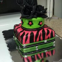 Death Of Her 20's, A 30Th Birthday Cake Red velvet cake covered in MMF. Fake black roses, rhinestones and ribbon.
