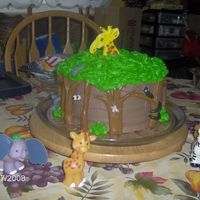 Jungle  This was for my son he has a thing for giraffes... chocolate buttercream, chocolate fondant for the tree trunks and gumpaste mmf mix for...