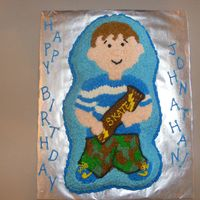 "Dscf1987.jpg  A little foster child at church saw me finishing a cake and promptl put in his ""order"" for a camoflauged skateboard cake. I made..."