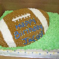 Dscf2061.jpg This is a 1/4 sheet cake with the football pan cake on top. Buttercream icing.