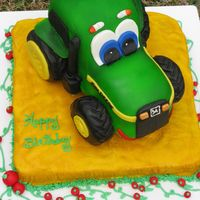 Johnny The Tractor Johnny the Tractor is a character John Deere uses in coloring books, movies, and apparel. The customer was a tomato farmer so I added some...