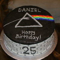 "Pink Floyd ""Dark Side"" theme on top, ""The Wall"" them on the side. All buttercream"
