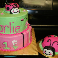 "Lady Bug First Birthday  8"" and 10"" stacked with ladybug carved from jumbo cupcakes. Smash cake is 1/2 ball pan and cupcake carved for head. All..."