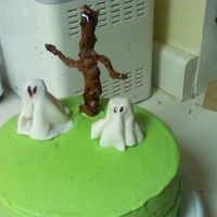 Halloween   this is the other cake I made for my party, the ghost and tree are made of fondant