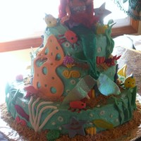 Ariel For Kiley  Made this cake for my niece Kiley Mae. She loved it. It was fun to make. White cake with buttercream frosting. Decorations made with...