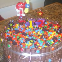 M & M's, Oreos & Twix   Made this because my niece loves M & M's. Black Magic Chocolate, cake with buttercream frosting under the candy.