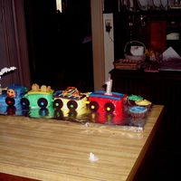 Choo Choo! My sons first birthday! I am a beginner as you can see. I had alot of fundecorating this cake.