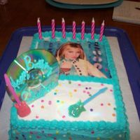 Hanna Montana   French vanilla cake with butter cream icing and sugar paper transfer.
