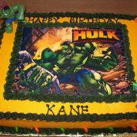 Hulk Birthday   French vanilla cake with butter cream. Sugar paper picture. My grandsons birthday.