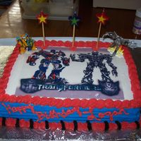 Transformers   French vanilla cake with butter cream icing and sugar paper transfer.