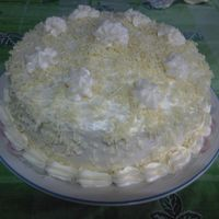 Ultimate Cheese Cake Cheese cake with cream cheese filling/frosting and topped with grated cheese..