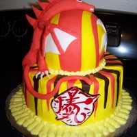 Boy's Birthday Cake this is a strawberry cake covered in fondantThe boy loves Bakugan so I wanted to make something like it.