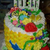 2Nd Course Cake This is a peanut butter and jelly oval cake. It was my first basketweave and has more flowers than a flowershop! The bird and fence are...