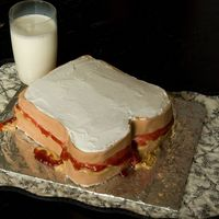 Pb & J Cake I made this in a hurry and couldn't get the icing to smooth. I used fondant for the crust and buttercream to ice the rest. It's a...