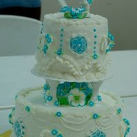 My First Wedding Cake! This retrotastic number was my first wedding cake. Will Wilton please update their books?!