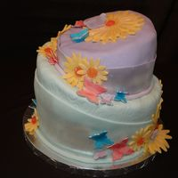 Birthday Cake Red Velvet cake with butterflies and flowers